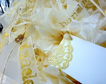 25 PLACE CARD Art TAGS Luxury Premium Gold Embossed Ivory & Personalized Gold Printed Ribbon for Favor, Labels, Moroccan Asian Wedding