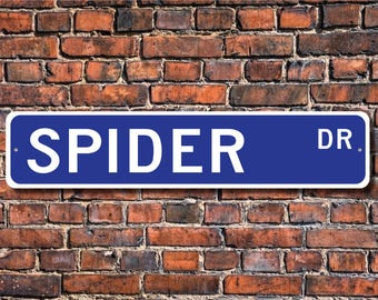 Spider, Spider Gift, Spider Sign, Spider decor, Spider lover, eight legged, arachnid family, Custom Street Sign, Quality Metal Sign