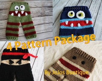 Baby Pants PATTERN Package -  Four Crochet Baby Pants PATTERNS - Baby Monster Pants - Sock Monkey Pants - Ninja Pants - by JoJo's Bootique