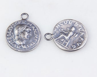 19mm Roman, Greek Medallion Coin Charm in Oxidized Sterling Silver, Medallion Pendant, Ancient Roman, Greek Coin Charms,Double Sided HCIN253