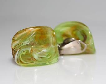 Green Italian Clip Earrings