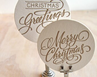 Christmas table decorations, secret santa, gifts under 10, Hand lettered Letterpress Coaster set of 6, choose from red, green, silver, gold