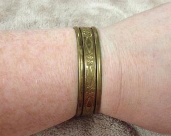 Vintage Goldtone Floral Cuff Bracelet