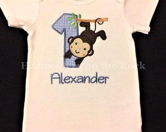 Monkey 1st birthday, Personalized 1st birthday bodysuit, first birthday, Embroidered, monkey birthday shirt.