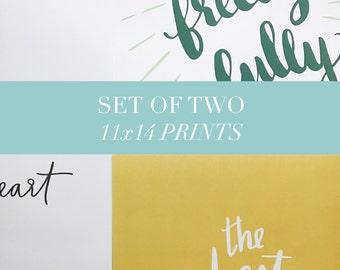 Art Print Set - 11x14 Print Set - Art Print Bundle - Art Print Gift Set - Illustration - Lettering - Wall Art