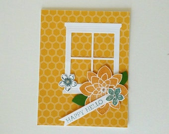hello card, Thinking of you card, Friend card, greeting card, missing you card, stampin up card,Just because card, homemade card, hello gift