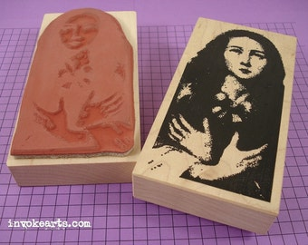 Mary with Crossed Hands Stamp / Invoke Arts Collage Rubber Stamps