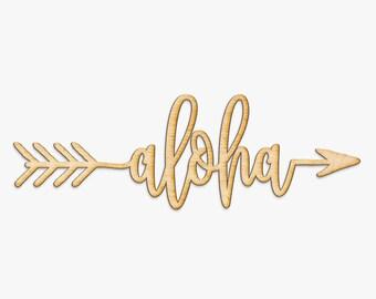 Aloha Arrow Wood Sign - Wood Sign Art, Wooden Sign, Wood Decor, Art Room Sign, Playroom Sign, Hawaiian Decor, Hawaii