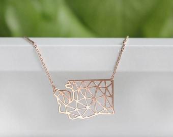 Washington Geometric Necklace | Rose Gold | Small | ATL-N-189-R