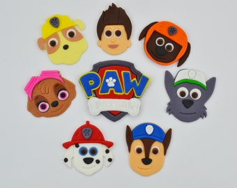 Edible Paw Patrol Inspired Cake toppers set with Pups and Logo