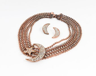 60s Copper Necklace Set | Rhinestone Necklace Set
