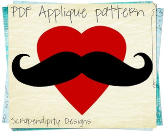 Woman Mustache Applique Pattern - Heart Applique Template / DIY Mustache Shirt Design / Mustache Girls Clothing / Mom Wall Hanging AP175-D
