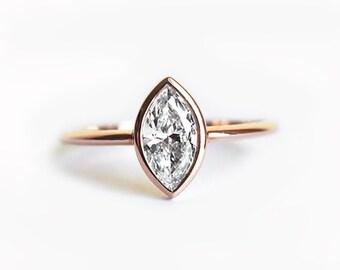 0.5 Carat Diamond Ring, Solitaire Diamond Engagement Ring, Diamond Engagement Ring, Simple Diamond Ring, 18k Gold