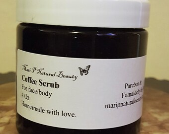 Coffee Scrub for face and body 4 Oz (Exfoliant) Preservative and fragrance free