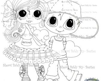 INSTANT DOWNLOAD Digital Digi Stamps Big Eye Big Head Dolls Messy Bessy My Besties Digi Valentines day puppy love By Sherri Baldy
