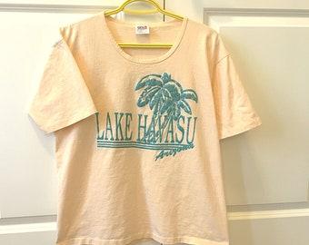 Vintage Arizona Tee / Lake Havasu / 90's Retro T- Shirt / Graphic Tee - Large / vacation tourist t shirt / Peach Shirt /  Palm Tree