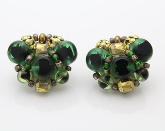 Vintage Unusual Frosted Green Glass Cluster Bead Clip Earrings West Germany. [450]