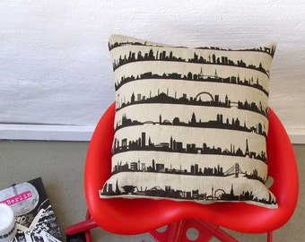 Throw Pillow Linen 16 CITIES around the world, perfect accent home, urban Linen Cover, wedding pillow, gift wanderlust nostalgia, 44spaces