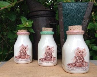 Ceramic Milk Bottle, Handmade Milk Bottle, Chef Cat Milk Bottle, Beekeeper Milk Bottle, Ceramic Honey Bottle, Ceramic Cork Jar