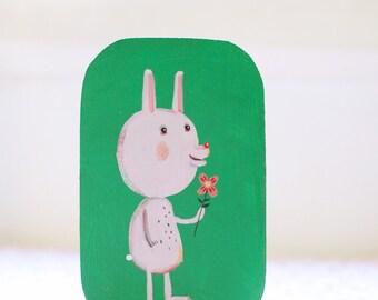 little rabbit  small original painting, children room decor, wall art, wall decor, art for children