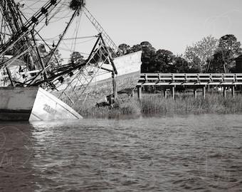 Ship wreck, black and white photograph, decorative print