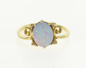 14k Oval Opal* Diamond Accented Ornate Scroll Ring Gold