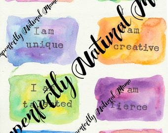 Affirmation Cards, download, positive affirmations, watercolour affirmation cards.