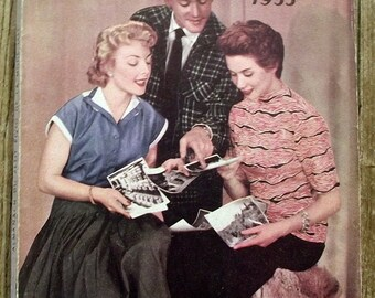 Almanac Le petit Écho de fashion Almanac 1955 sewing, knitting, knitting antique french magazine