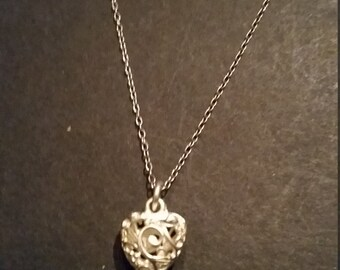 Sterling Silver Necklace Filigree Heart Pendant