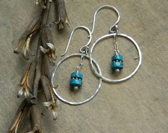 Turquoise earrings southwest jewelry southwestern earrings sterling silver and turquoise dangle earrings beaded jewelry western cowgirl boho