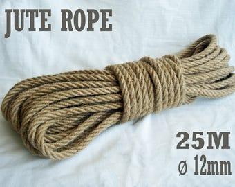 Natural High Quality Jute Rope, Jute Cord, 12mm, 25 meter