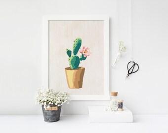 cactus art print printable cactus printable art cactus print succulent print wall art gallery wall print, watercolor print, botanical print