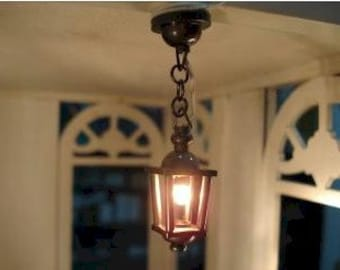Dolls House Miniature Working Black Ceiling Light