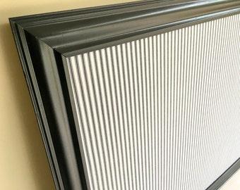 Decorative BULLETIN BOARD Home Office Wall Decor Kitchen Decor Magnetic Board Black White Ticking Stripe Large Cork Board Message Board