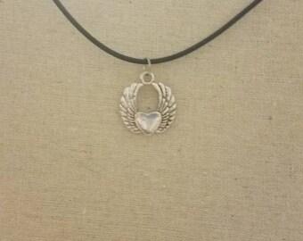 Heart wing, aloha, lotus, claddagh charm necklace
