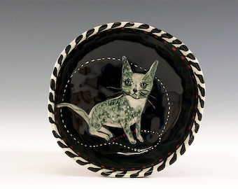 Cat Bowl - Original Painting by Jenny Mendes in a Hand Pinched Ceramic Finger Bowl