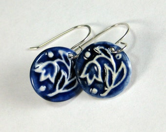 Ceramic Earring Tulip Porcelain Earrings In Navy Blue and White With Sterling Silver Earwires