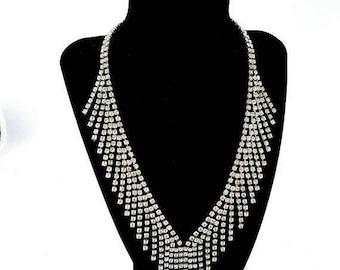 ON SALE Vintage Rhinestone Statement Bib Fringe Necklace - Runway 1960's Collectible High End Hard To Find Rare Wedding Bridal Jewelry