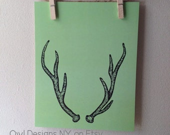 "Deer Antler Print - Woodland Green Deer antler print - India Ink Hand Drawn Antler Print - 8"" x 10"""
