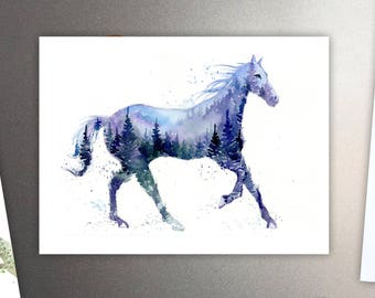 Night Stallion / Horse Art Refrigerator Magnet - Mountains & Forest Spirit Animal - Watercolor Painting