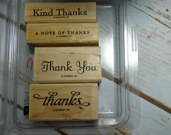 Thank You Kindly, Stampin Up Stamp Set, Rubber Stamps, Wood Mounted Stamp, Note of Thanks, Card Making