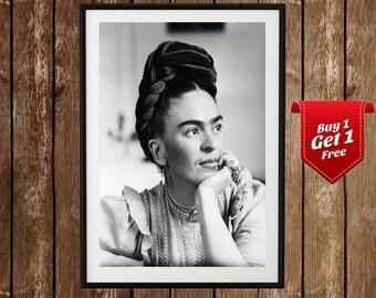 Frida Kahlo Portrait - Frida Kahlo Black White Photo, Frida Kahlo Print, Poster, Mexican, Iconic Painter, Feminist, Frida Kahlo Poster