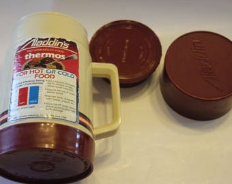 Vintage Thermos - Maroon and Tan Aladdin Wide Mouth Pint Thermos