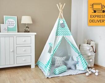 Tipi Set - Kids Play Tent Teepee - Mint Zig-Zag