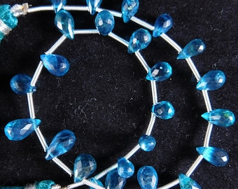 """8.5"""" Natural Adorable Neon Apatite Faceted Teardrop Shape Semi Precious Beads 6-9 mm. H32-12"""