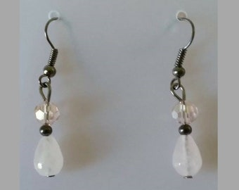 Rose Quartz with Clear Bead Earrings