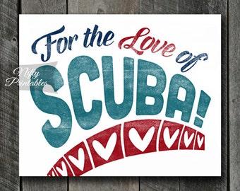Scuba Print - INSTANT DOWNLOAD Scuba Art - Vintage Scuba Poster - Scuba Diver Wall Art - Scuba Gifts - Scuba Decor - Scuba Diving Art SART