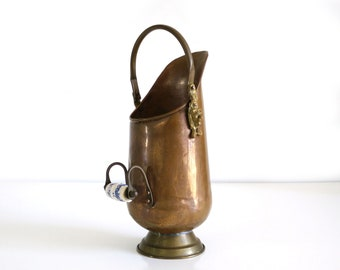 Copper and Brass Scuttle Bucket with Delft Handle / Vintage Coal Ash Bucket
