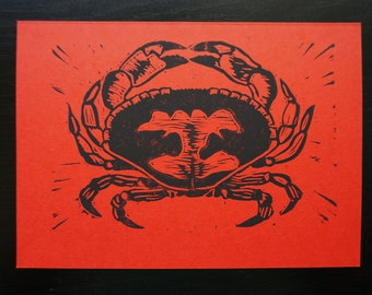Calling All Cancers - Crab Block Printed Note Card
