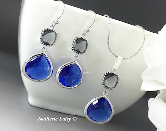Bridesmaid Gift Bridesmaid Jewelry Blue Necklace Cobalt Blue Sapphire Wedding Maid of Honor Mother of Groom Gift Mother of Bride Jewelry